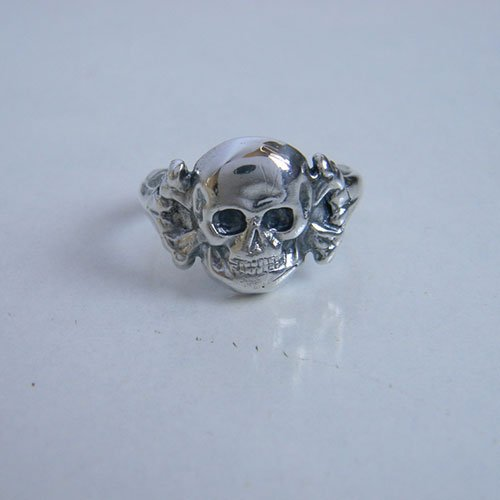 German Skull Ring Skull and Bones - var 2