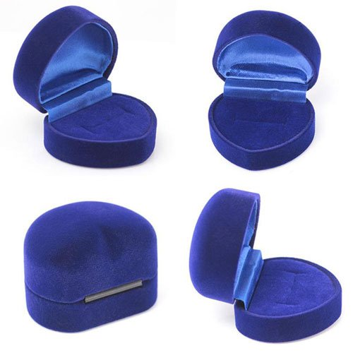 Luxury Heart Ring Box, Blue Velvet, 4x5x4cm