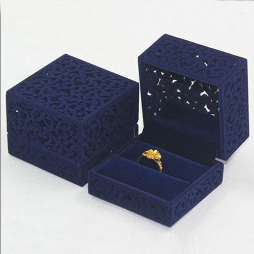 Luxury Velour Ring Box, Eastern Ornaments, 6x6x5cm