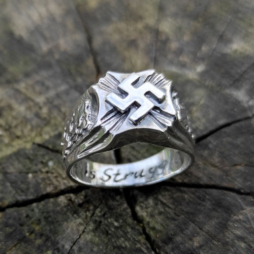 Nazi Ring Swastika and Oak NSDAP Third Reich Ring Filled Iron Cross