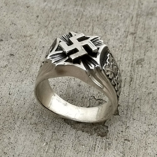 Nazi Ring Swastika and Oak NSDAP Third Reich Ring