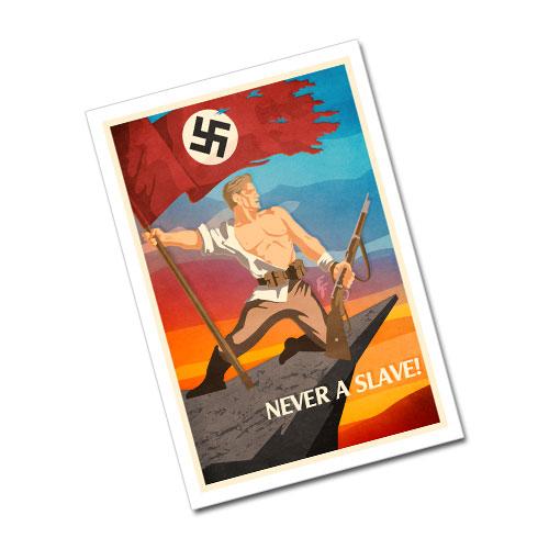 Nazi Propaganda Artwork Greeting Card Postcard - Never a Slave