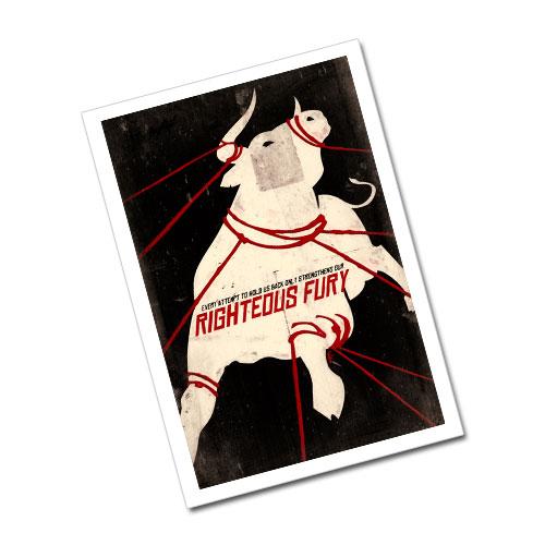 Nazi Propaganda Artwork Greeting Card Postcard - Righteous Fury