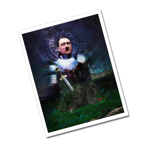 Third Reich Theme Greeting Card Postcard Adolf Hitler - The Knight
