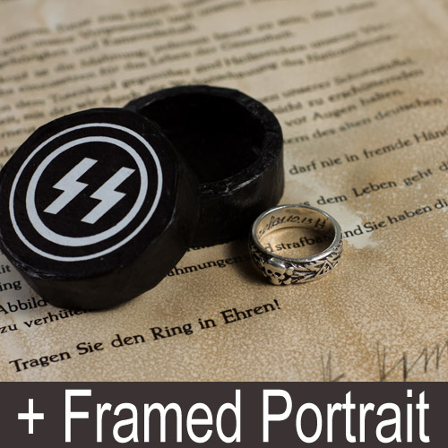 SS Totenkopf Ring and Framed Portrait of Heinrich Himmler - set of 4 pcs