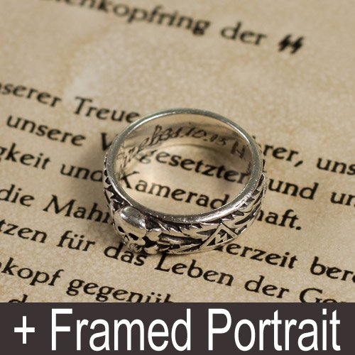 SS Totenkopf Ring and Framed Portrait of Joseph Goebbels - set of 3 pcs