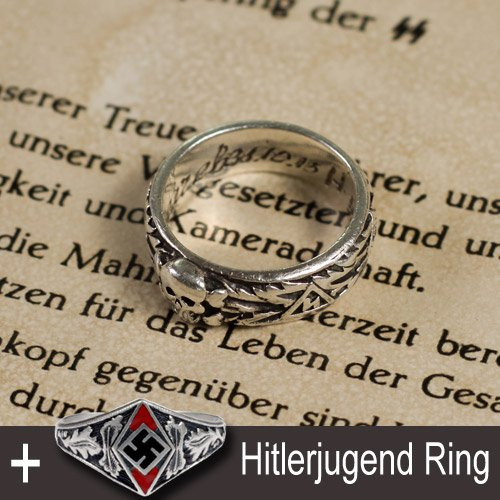 SS Totenkopf Ring, Himler's Letter and Hitlerjugend Ring - set of 3 pcs