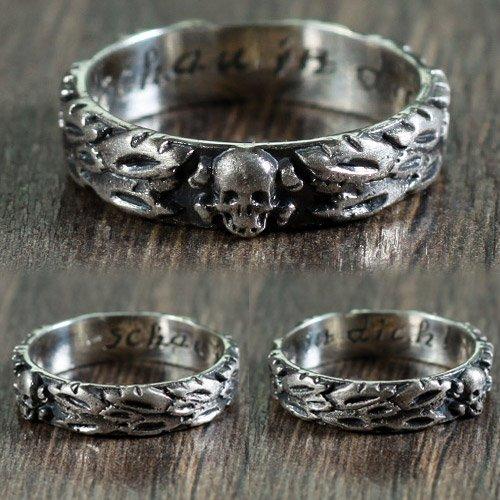Totenkopf Ring Death Head Skull Ring Memento Mori - clear