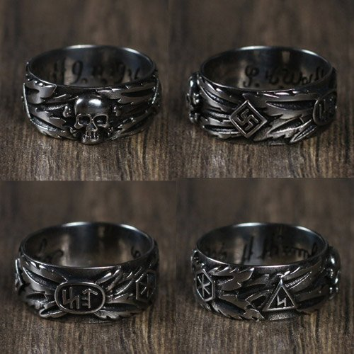 SS Totenkopf Ring SS Honour Ring Replica Wide Style - Size USA 10-11