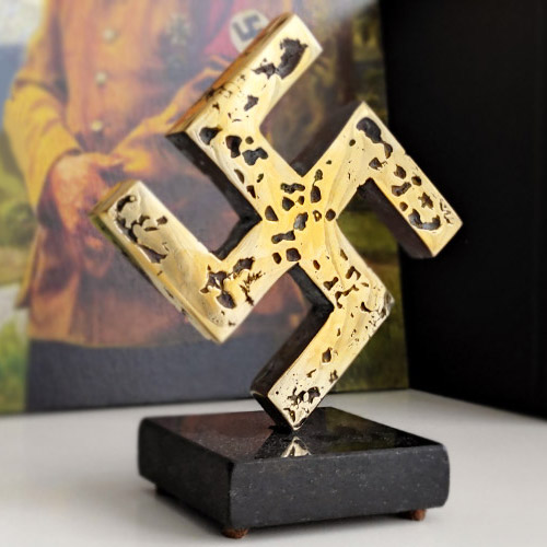 Swastika Desk Ornament 10cm German WWII Swastika Statuette Bronze