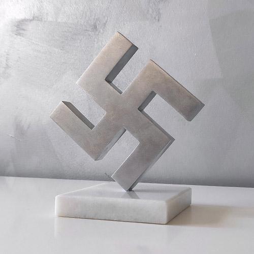 Swastika Statuette 8cm Aluminum Swastika Desk Ornament WWII - marble, polished V2