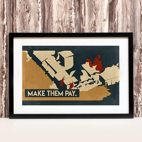 Nazi Propaganda Artwork Framed Poster - Make Them Pay