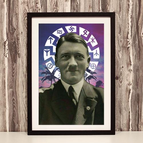 Framed Art Print Adolf Hitler Black Sun Third Reich Theme Framed Poster