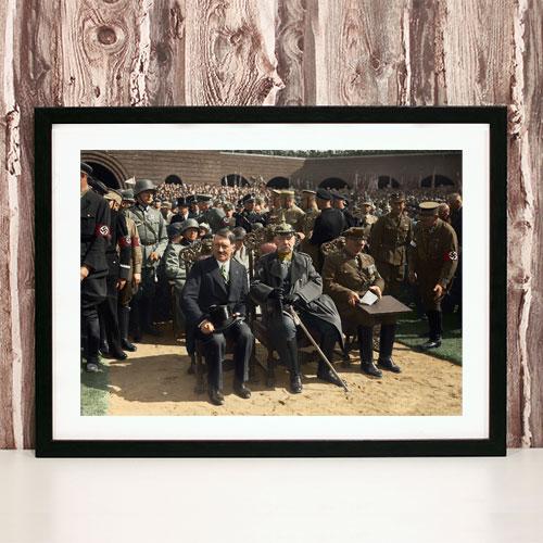 Framed Art Print Adolf Hitler, Paul Von Hindenburg, Hermann Goering - Memorial Celebration