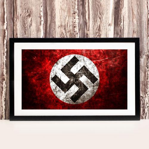 Framed Art Print Nazi Swastika Third Reich Theme Stylized Framed Poster