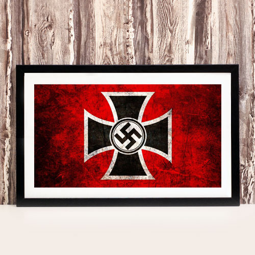 Framed Art Print Swastika and Iron Cross Third Reich Theme Stylized Framed Poster