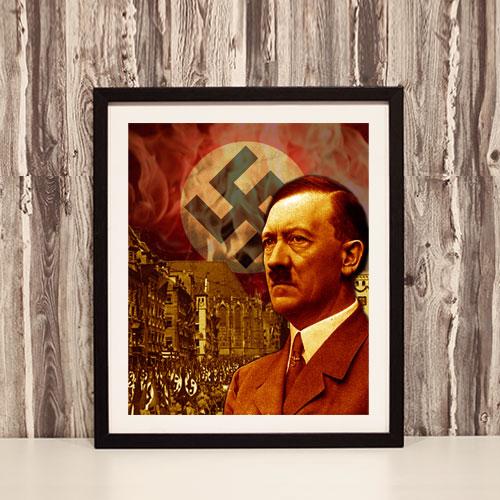 Framed Art Print Third Reich Theme Adolf Hitler Stylized Framed Poster