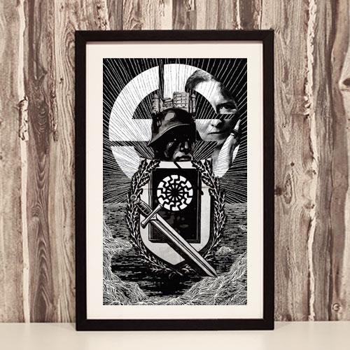 Framed Art Print Third Reich Theme - Waffen SS 5th Panzer Division Wiking, Savitri Devi