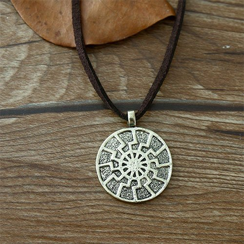 Black Sun Pendant Necklace Slavic Amulet