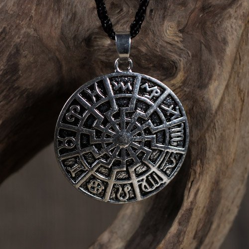 German Black Sun Pendant Sun Wheel and Zodiac