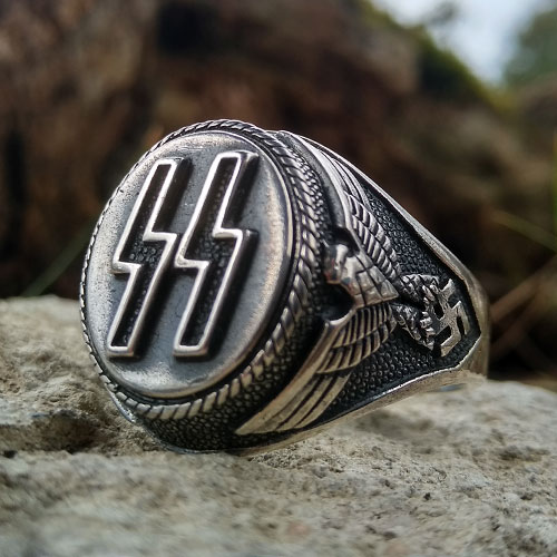 Waffen SS Ring Imperial Eagle and Sig Runes Third Reich Nazi Ring