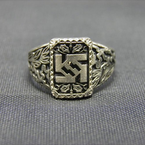 Waffen SS Ring Third Reich Nazi Ring with Swastika and Sig runes replica